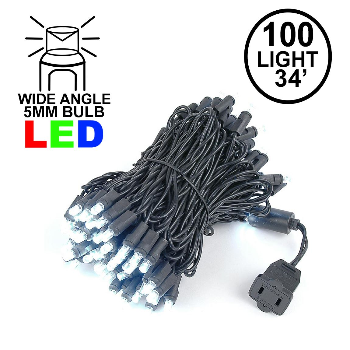 Picture of Commercial Grade Wide Angle 100 LED Pure White 34' Long Black Wire