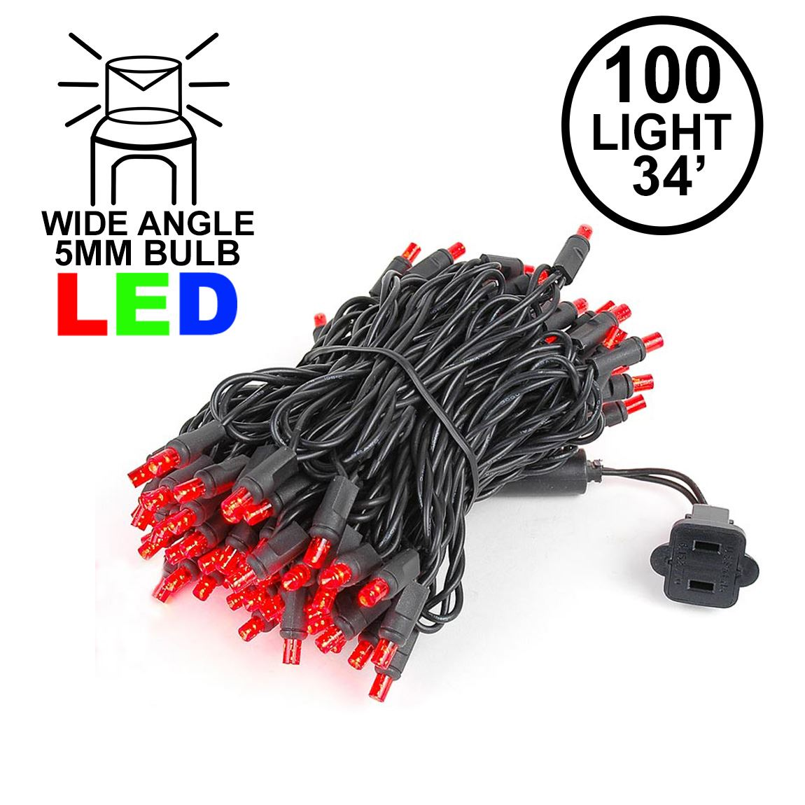 Picture of Commercial Grade Wide Angle 100 LED Red 34' Long Black Wire