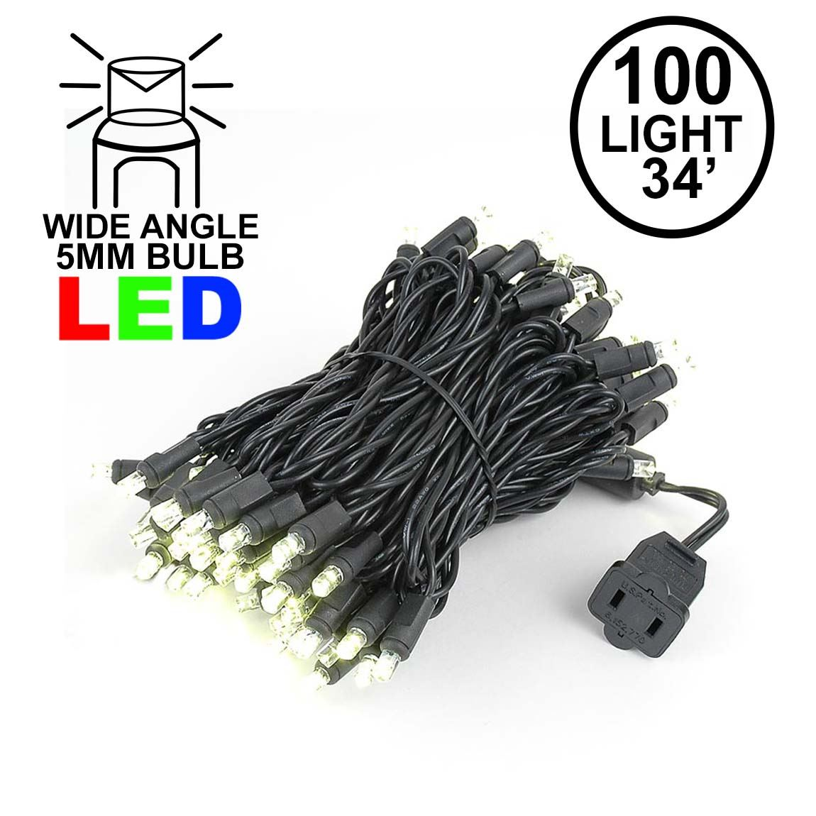 Picture of Commercial Grade Wide Angle 100 LED Warm White 34' Long Black Wire