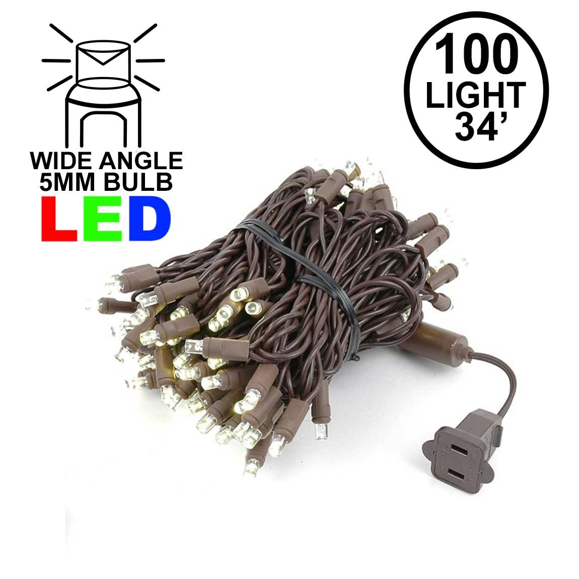Picture of Commercial Brown Wire Wide Angle 100 LED Warm White 34' Long