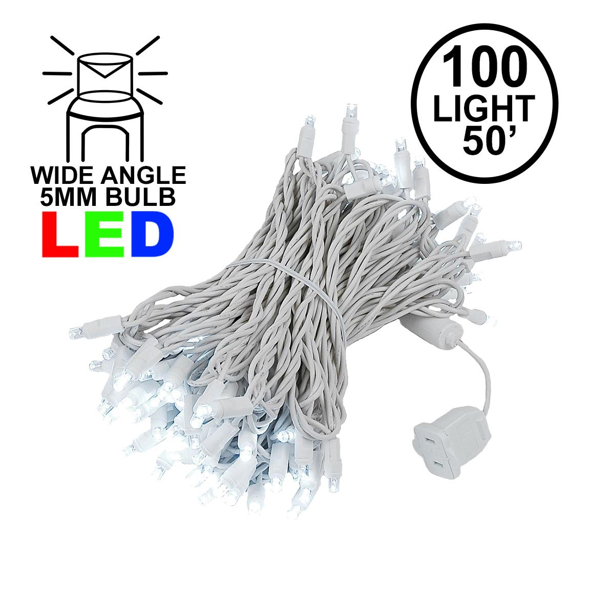 Picture of Commercial Grade Wide Angle 100 LED Pure White 50' Long on White Wire