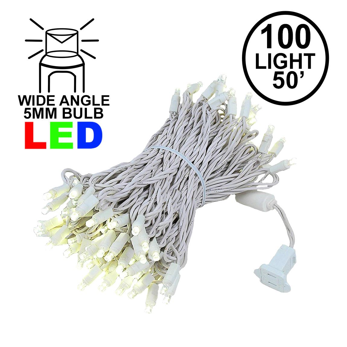 Picture of Commercial Grade Wide Angle 100 LED Warm White 50' Long on White Wire