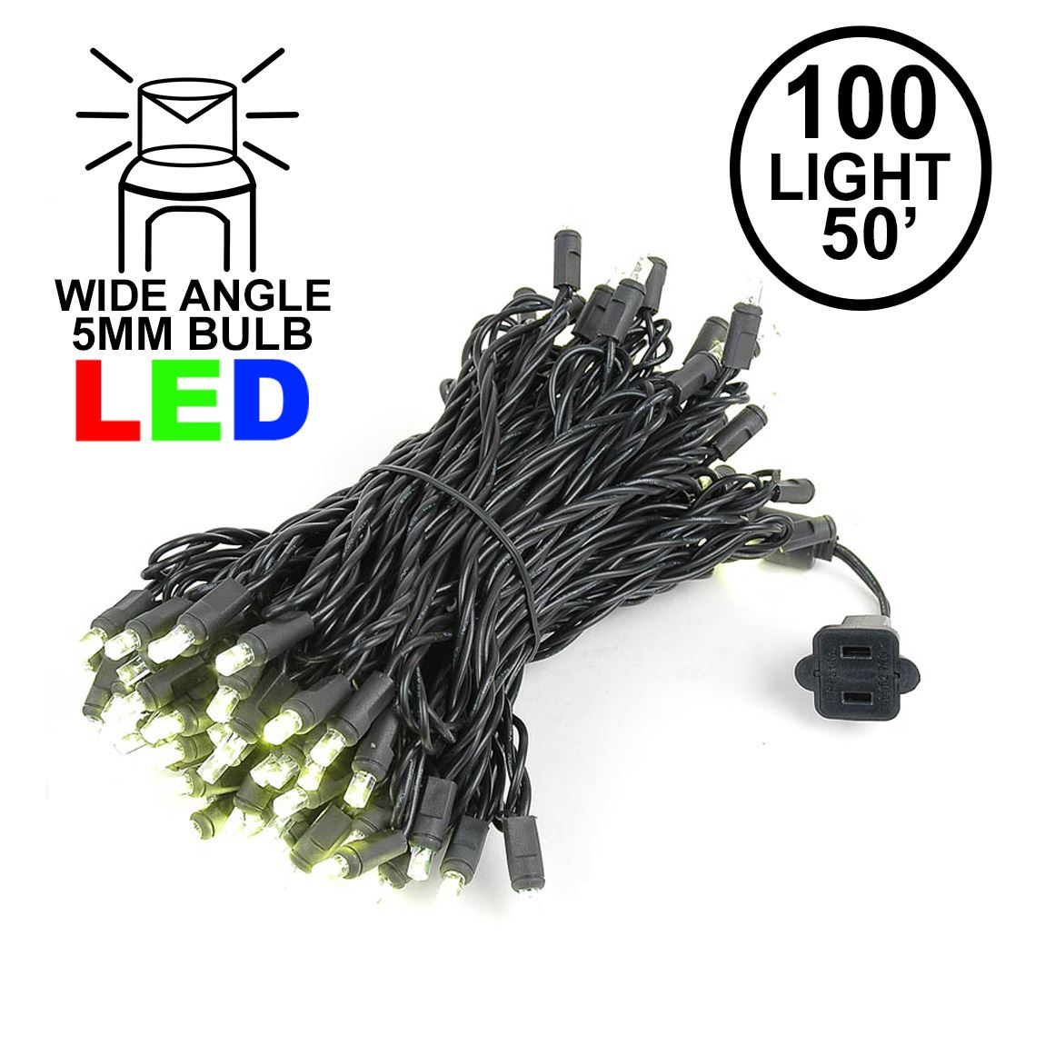 Picture of Commercial Grade Wide Angle 100 LED Warm White  50' Long on Black Wire