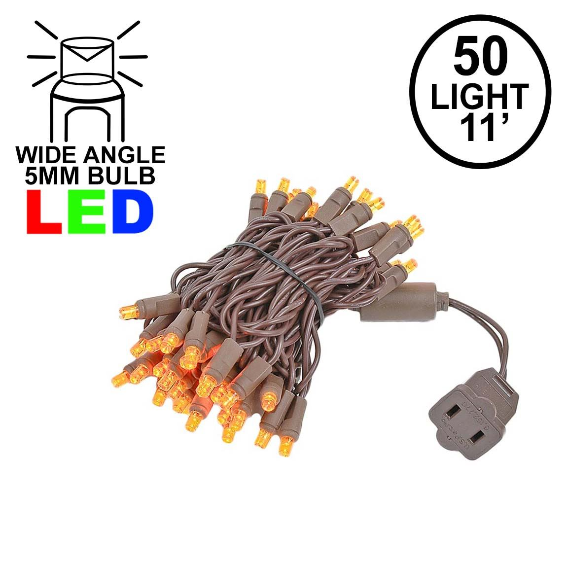 Picture of 50 LED Amber LED Christmas Lights 11' Long on Brown Wire
