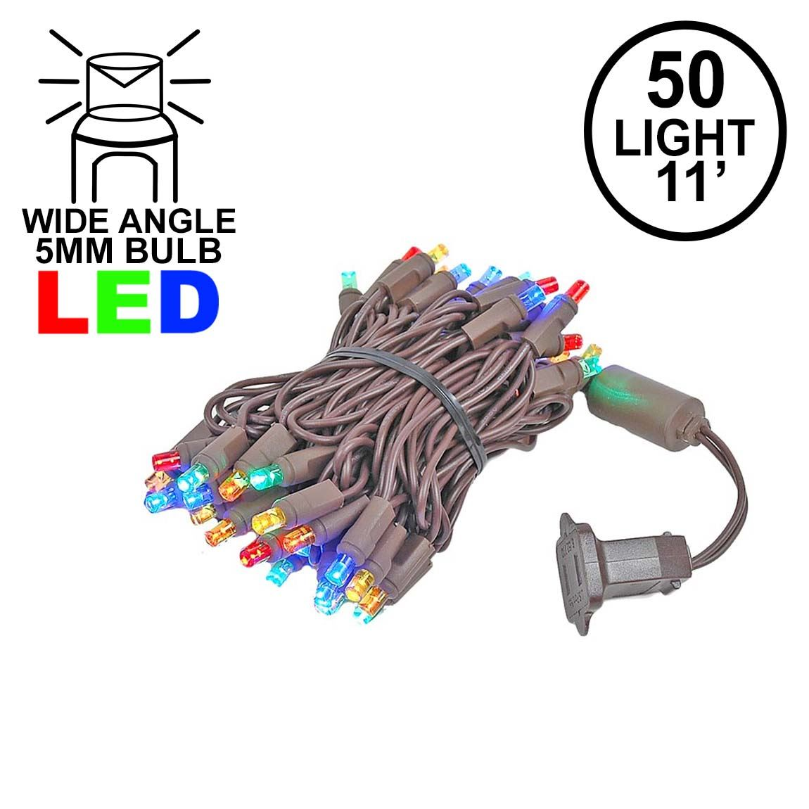 Picture of 50 LED Multi LED Christmas Lights 11' Long on Brown Wire