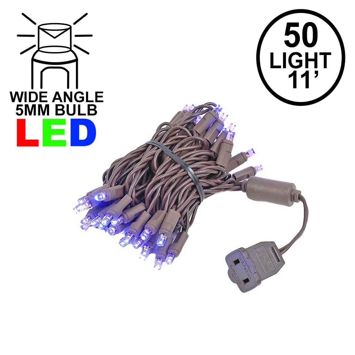 Picture of 50 LED Purple, Brown Wire LED Christmas Lights 11' Long