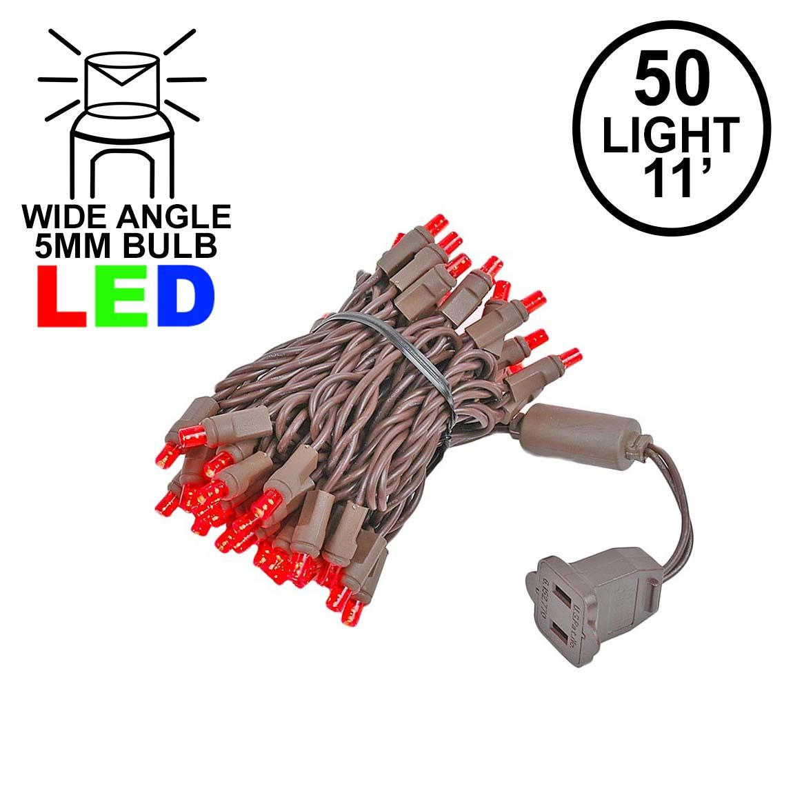 Picture of 50 LED Red, Brown Wire LED Christmas Lights 11' Long