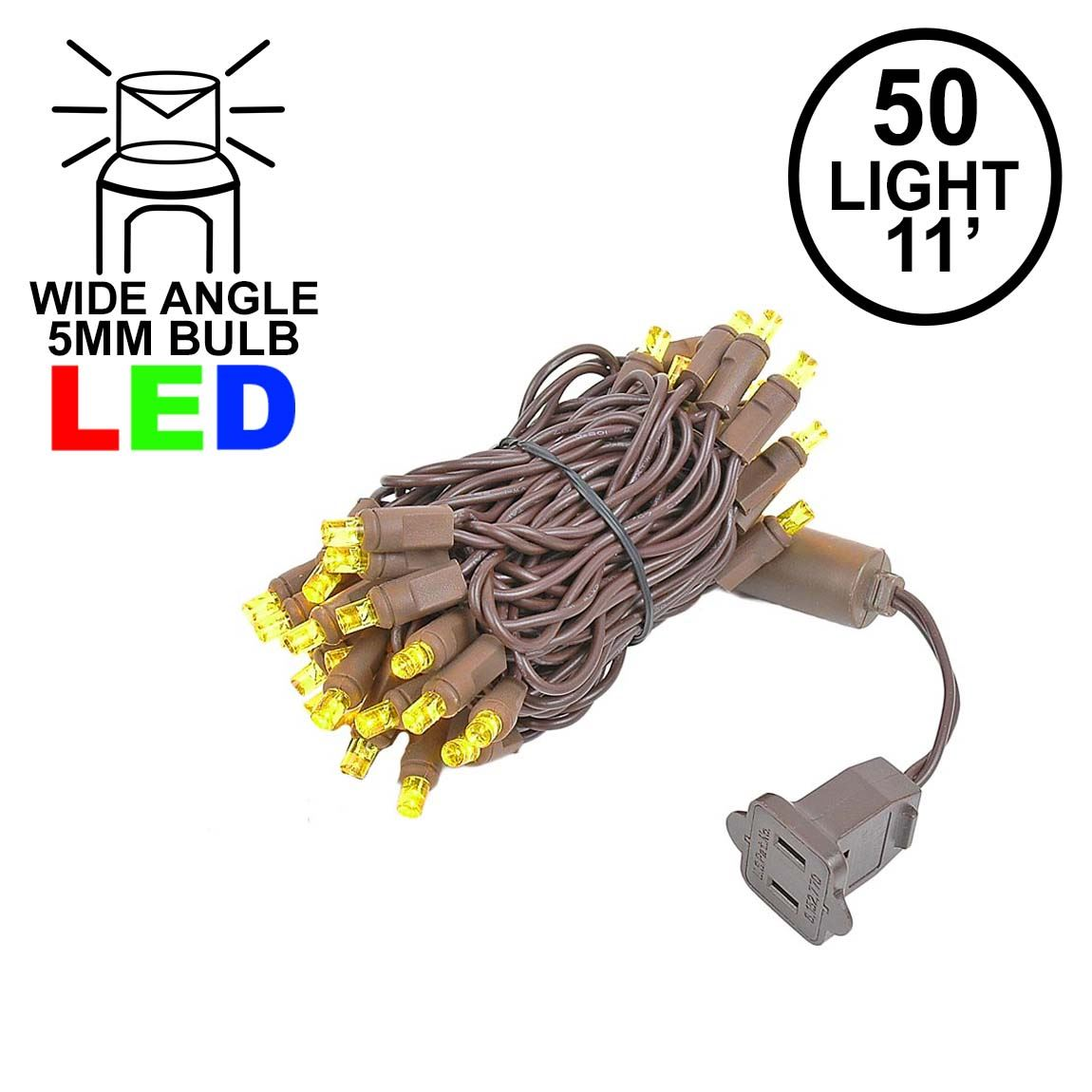 Picture of 50 LED Yellow, Brown Wire LED Christmas Lights 11' Long