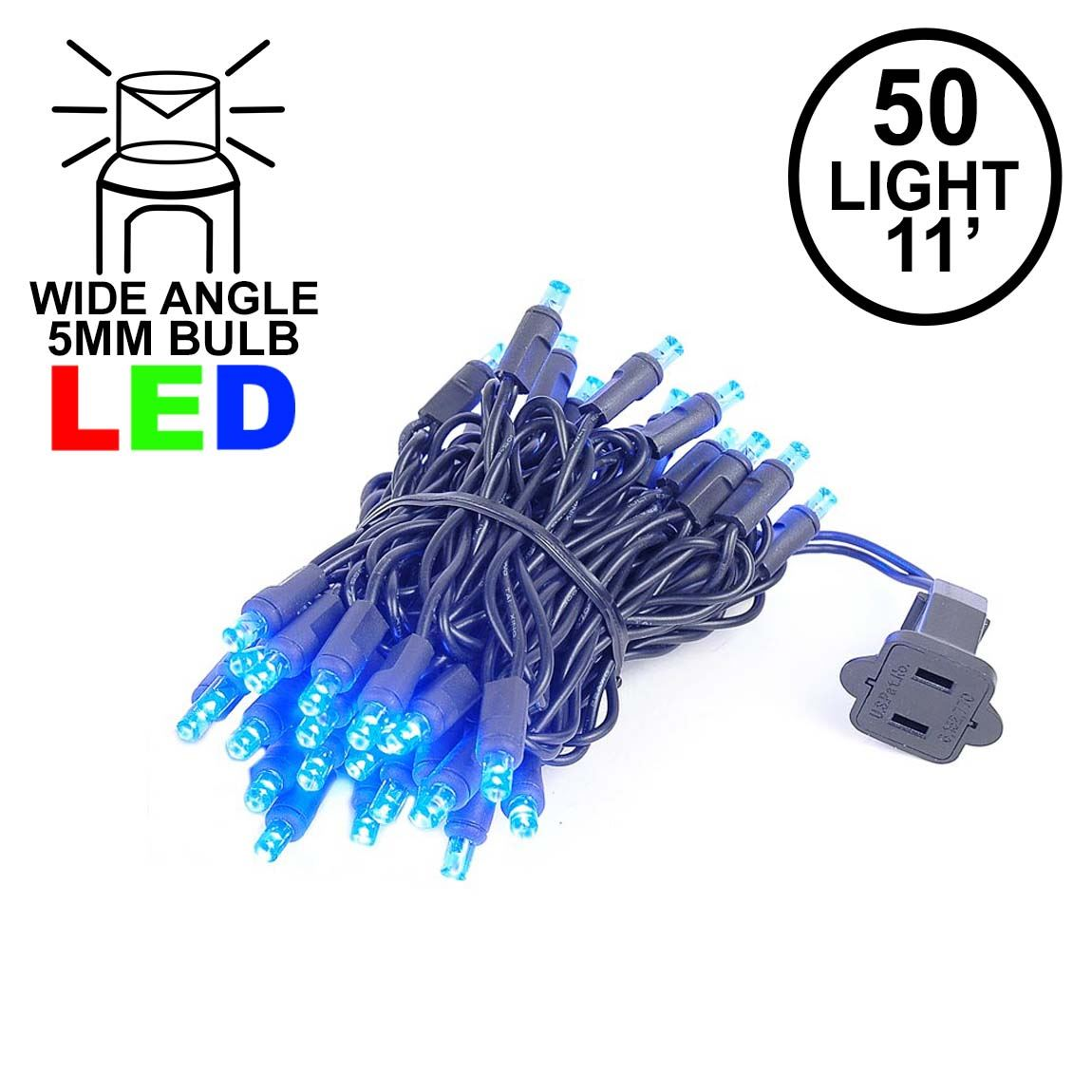Picture of 50 LED Blue, Black Wire LED Christmas Lights 11' Long