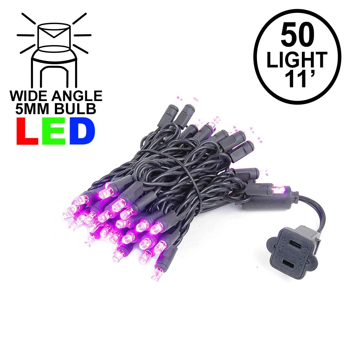 Picture of 50 LED Pink LED Christmas Lights 11' Long on Black Wire