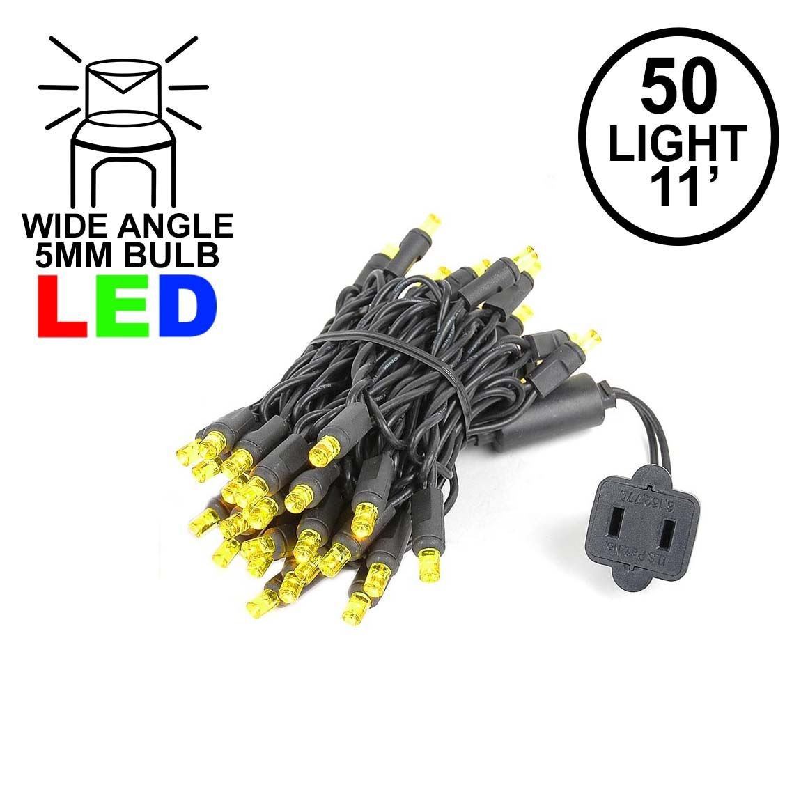 Picture of 50 LED Yellow, Black Wire LED Christmas Lights 11' Long