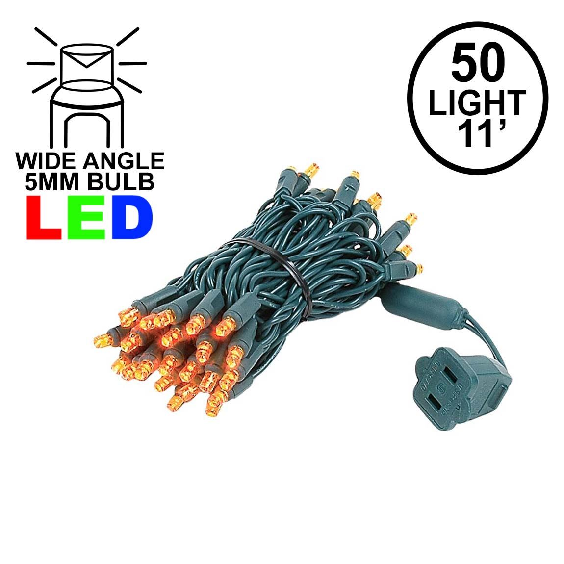 Picture of 50 LED Orange (amber) LED Christmas Lights 11' Long on Green Wire