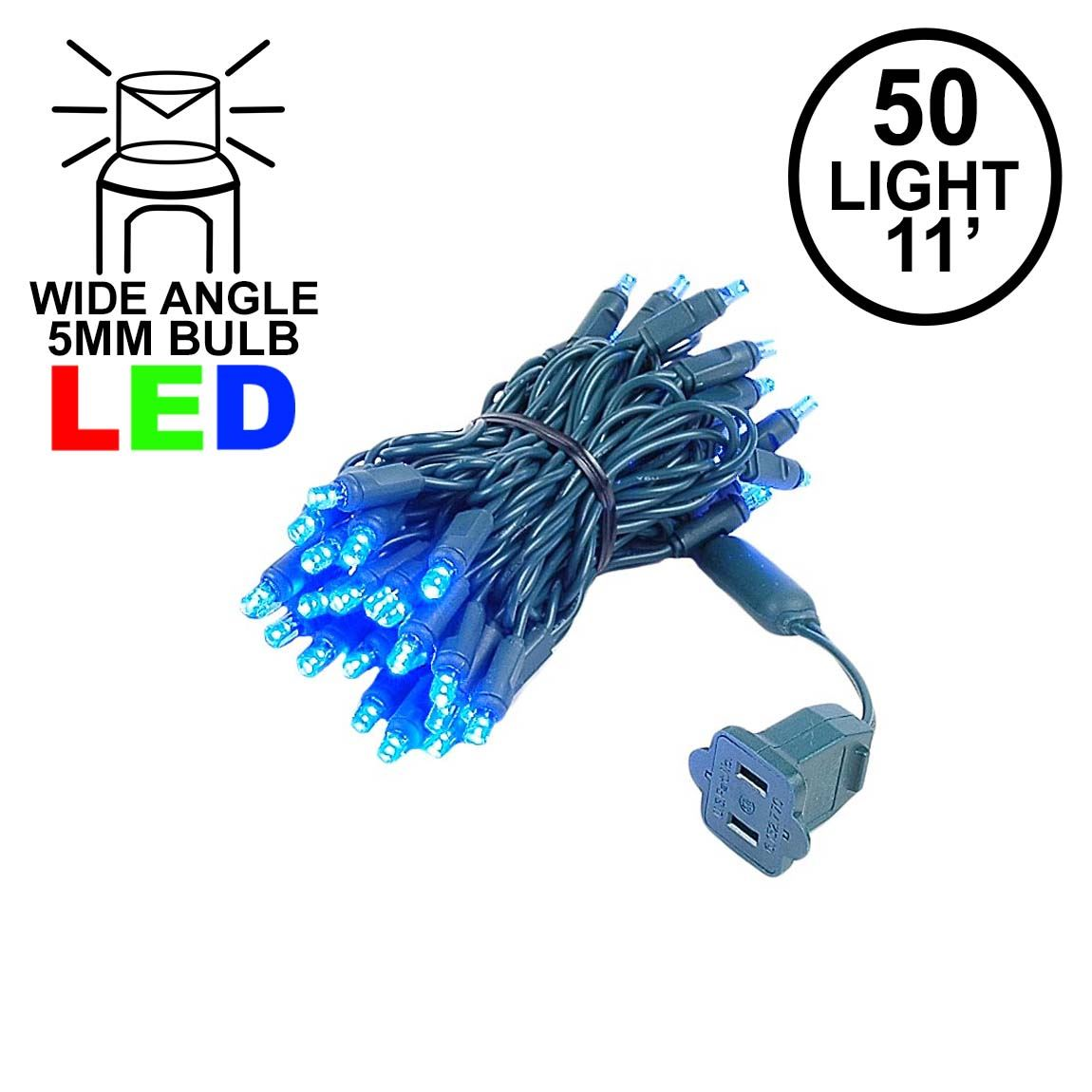 Picture of 50 LED Blue LED Christmas Lights 11' Long on Green Wire
