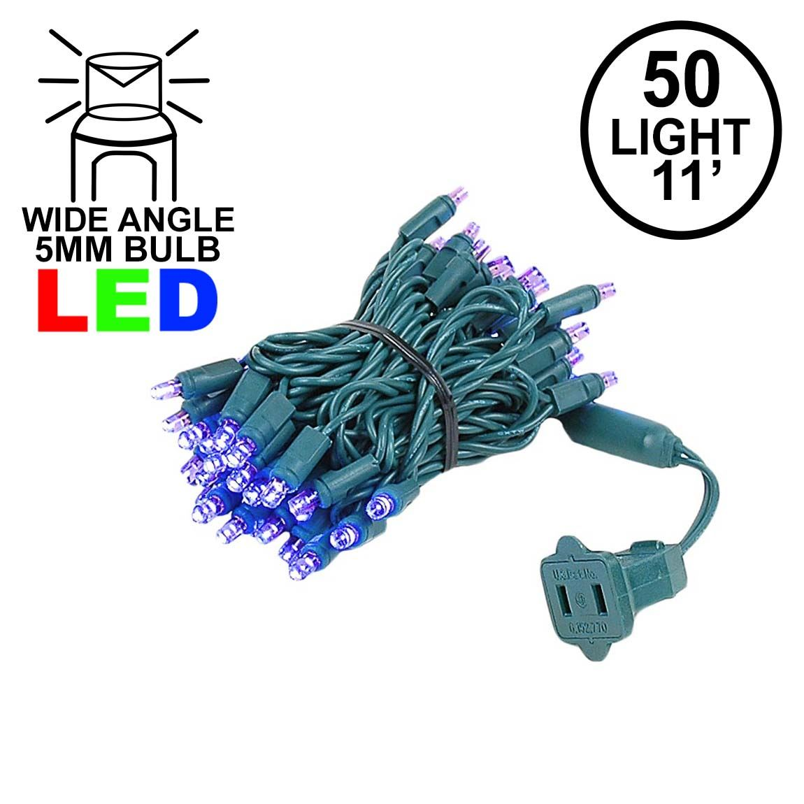 Picture of 50 LED Purple LED Christmas Lights 11' Long