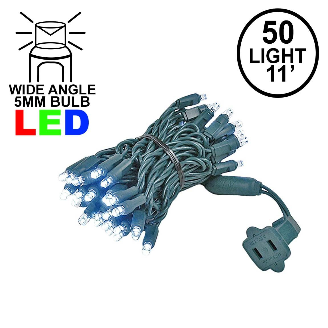 Picture of 50 LED Pure White LED Christmas Lights 11' Long