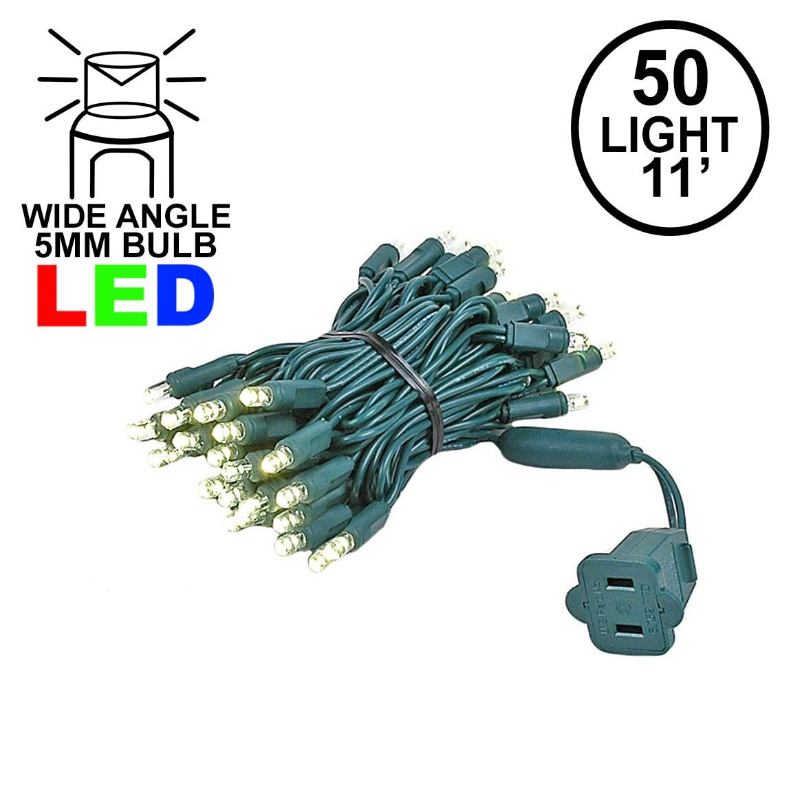 Picture of 50 LED Warm White LED Christmas Lights 11' Long on Green Wire