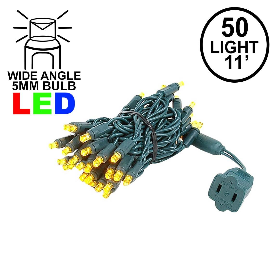 Picture of 50 LED Yellow (gold) LED Christmas Lights 11' Long