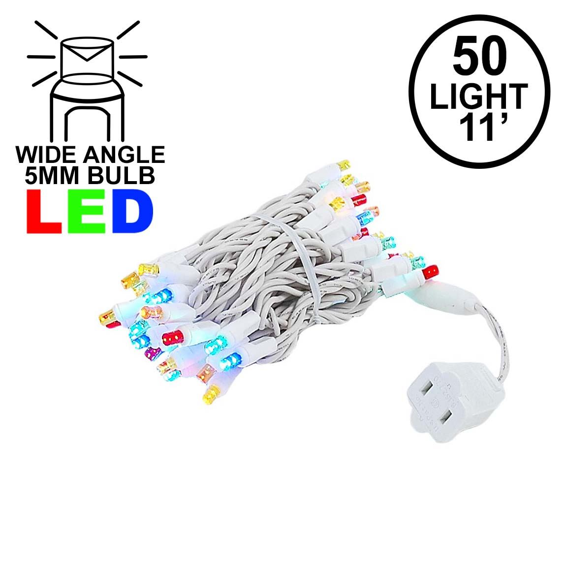 Picture of 50 LED Multi, White Wire LED Christmas Lights 11' Long
