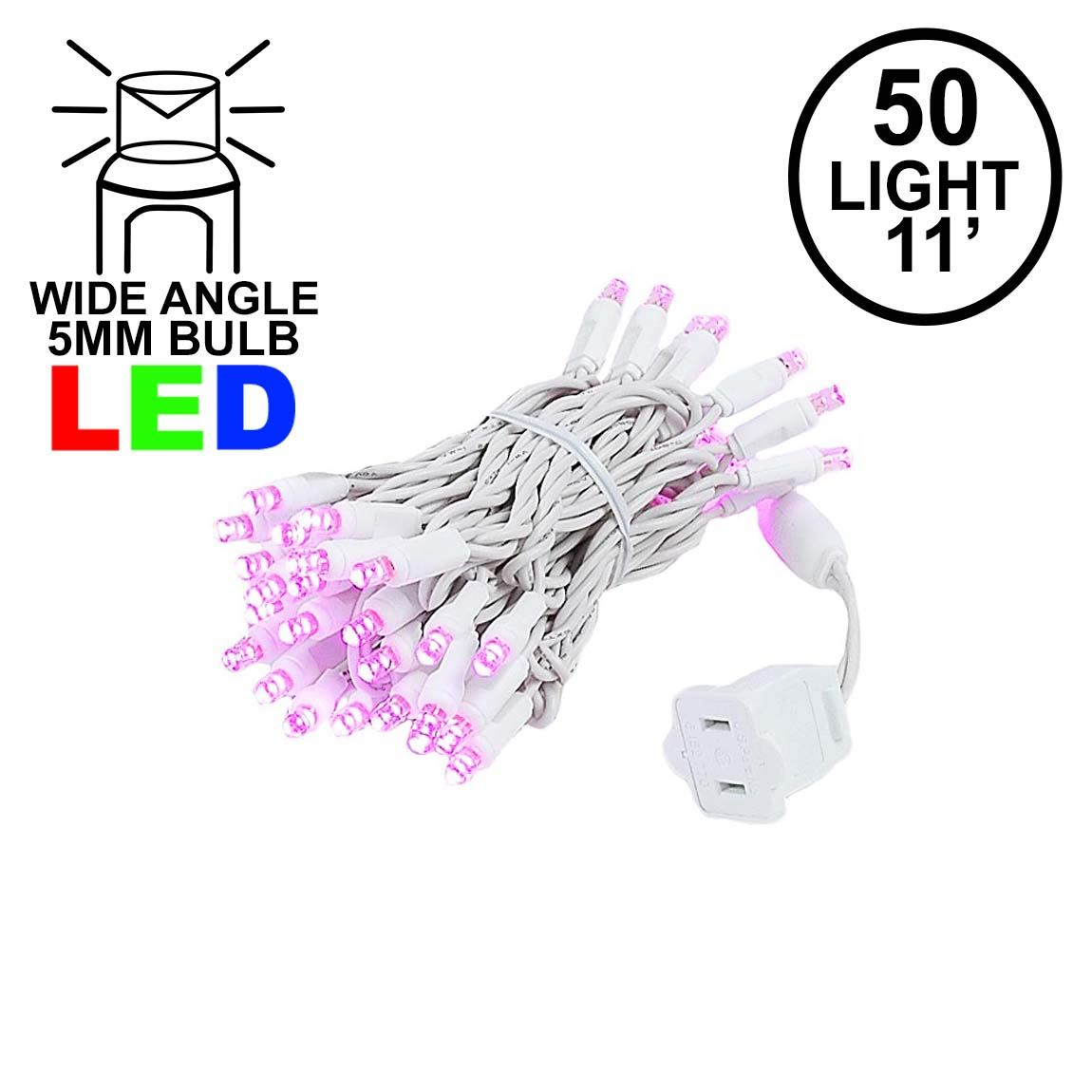 Picture of 50 LED Pink LED Christmas Lights 11' Long on White Wire