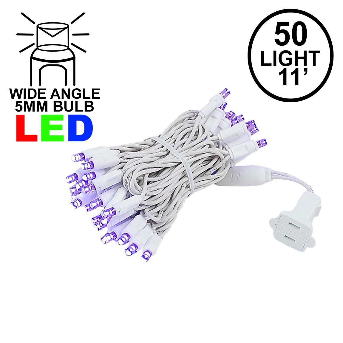Picture of 50 LED Purple LED Christmas Lights 11' Long on White Wire