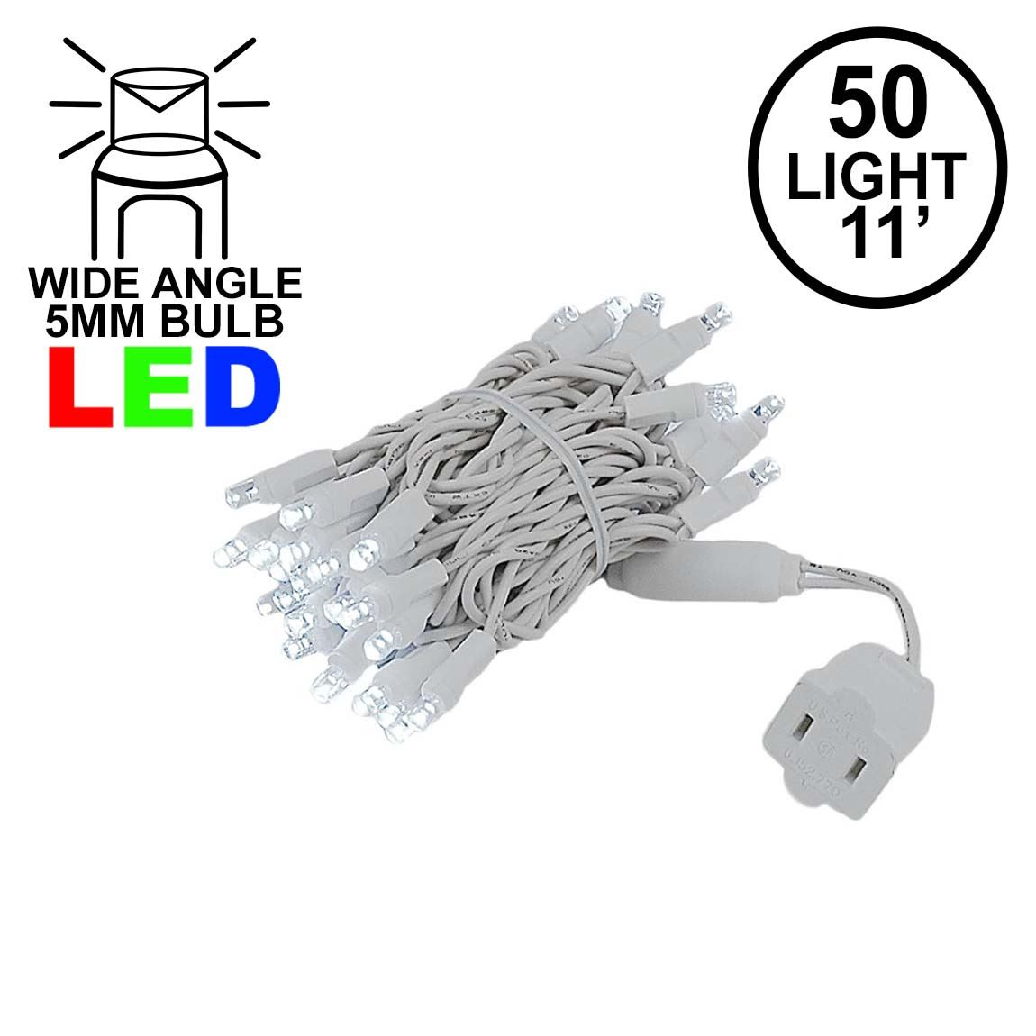 Picture of 50 LED Pure White, White Wire LED Christmas Lights 11' Long