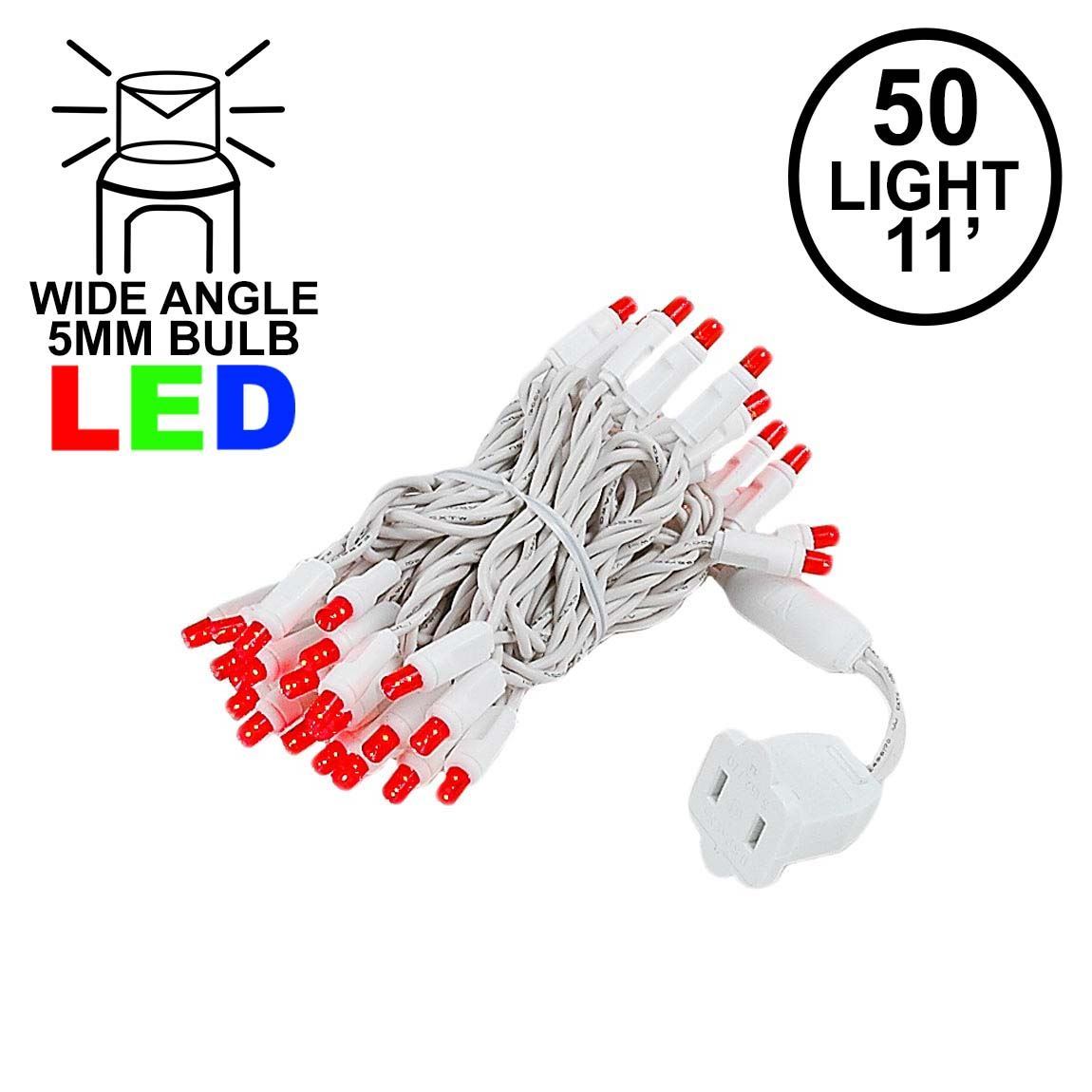 Picture of 50 LED Red, White Wire LED Christmas Lights 11' Long