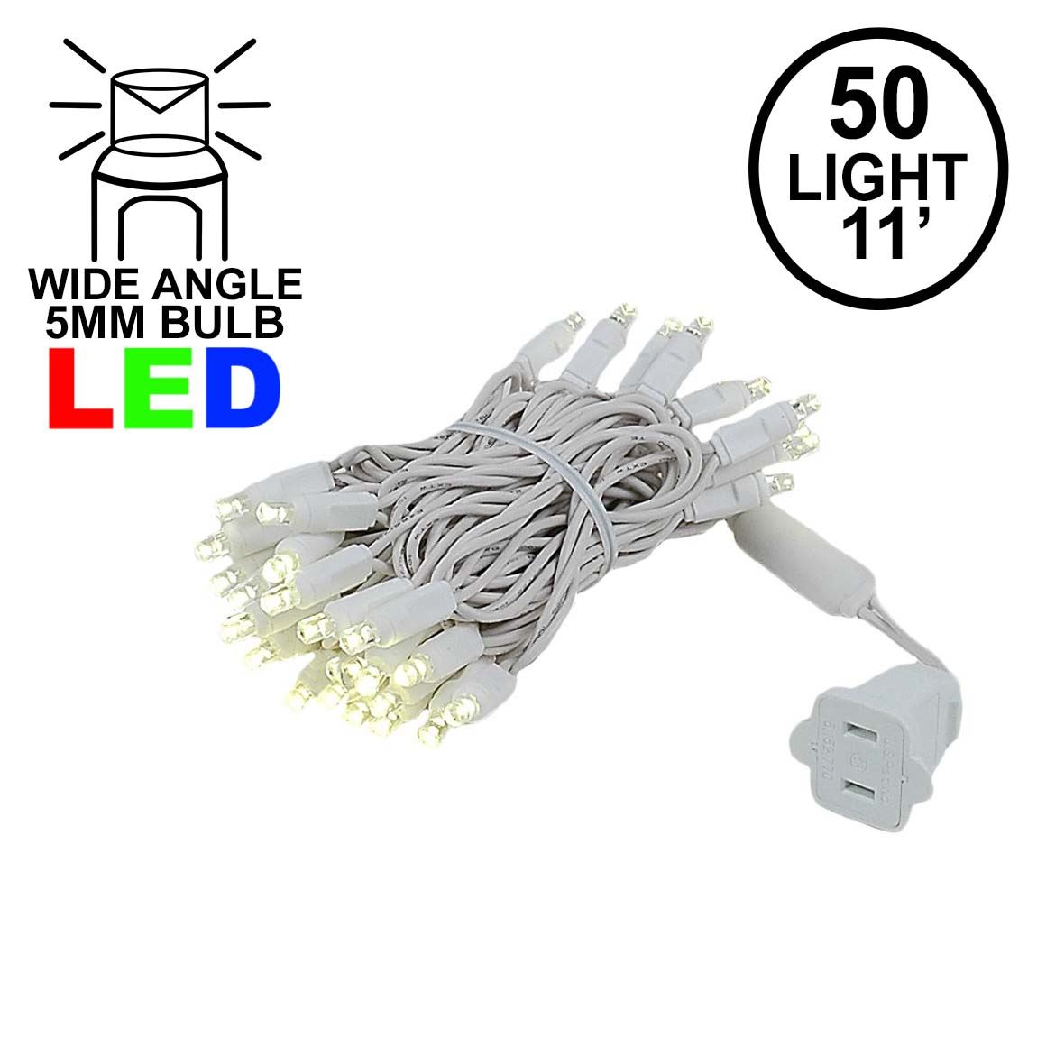 Picture of 50 LED Warm White, White Wire LED Christmas Lights 11' Long