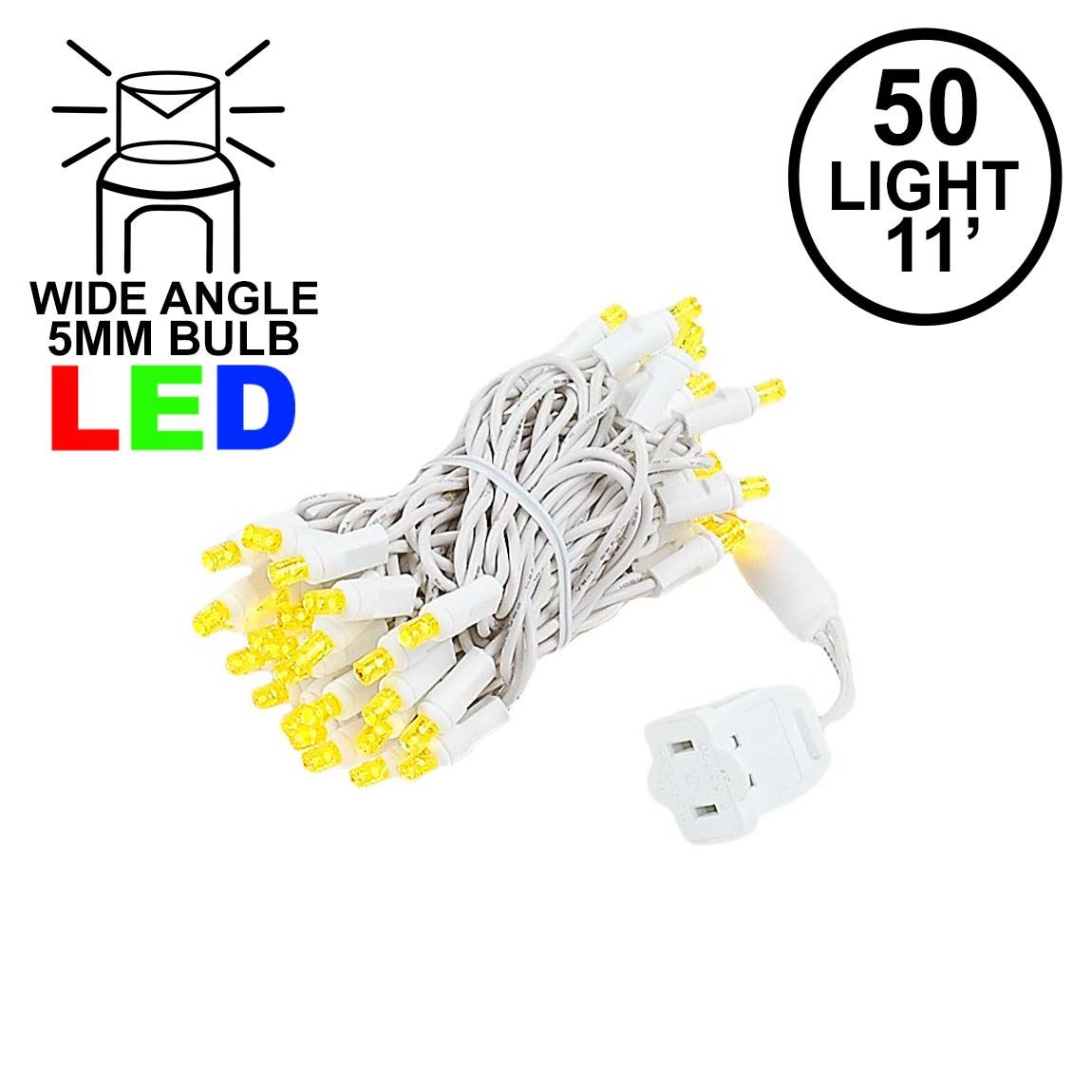 Picture of 50 LED Yellow LED Christmas Lights 11' Long on White Wire