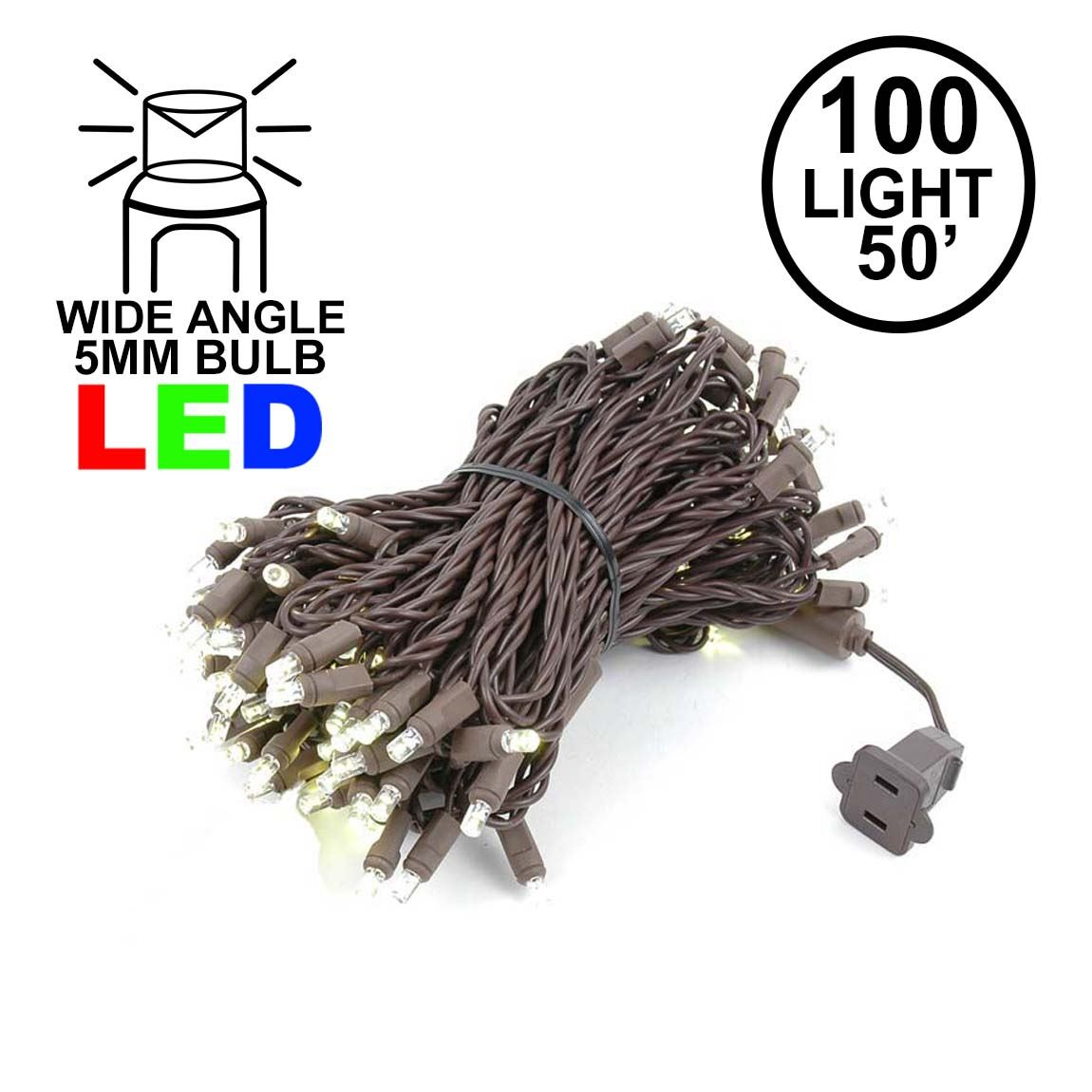 Picture of Commercial Grade Wide Angle 100 LED Warm White 50' Long on Brown Wire