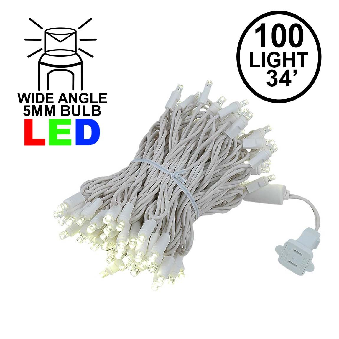 Picture of Commercial Grade Wide Angle 100 LED Warm White 34' Long White Wire