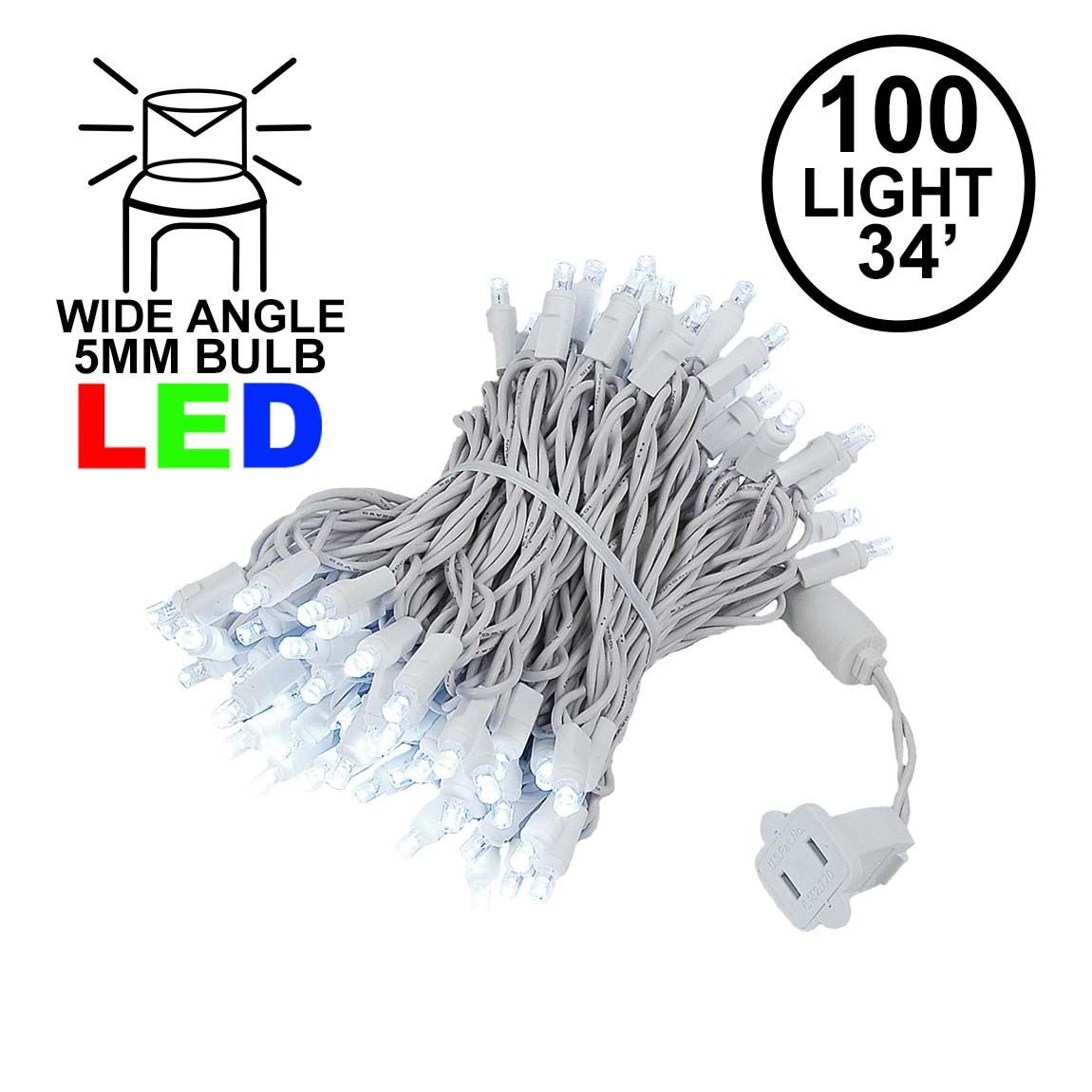 Picture of Commercial Grade Wide Angle 100 LED Pure White 34' Long White Wire