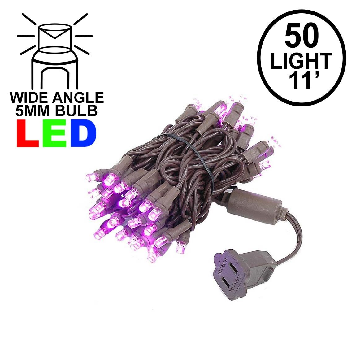 Picture of 50 LED Pink, Brown Wire LED Christmas Lights 11' Long