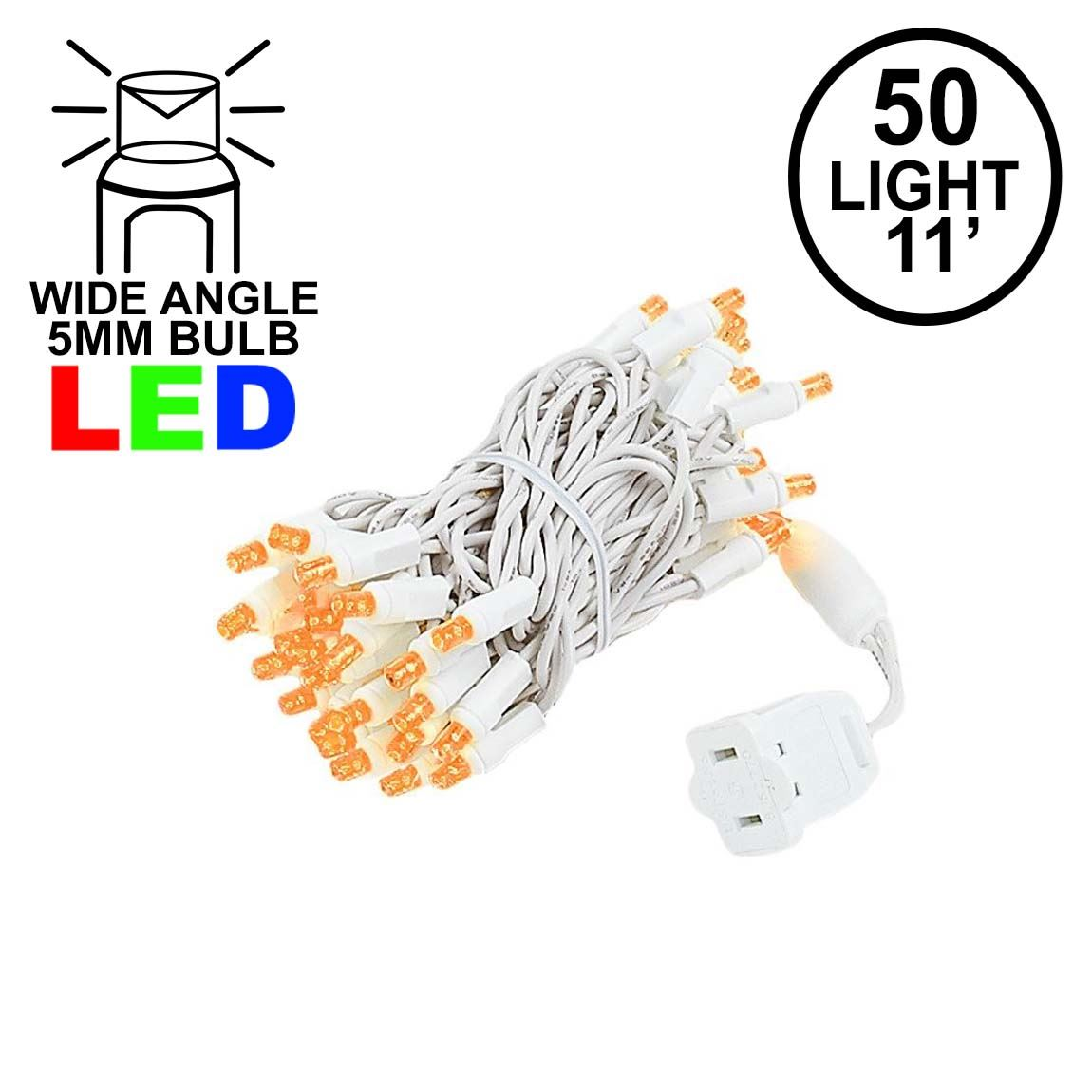 Picture of 50 LED Amber LED Christmas Lights 11' Long on White Wire
