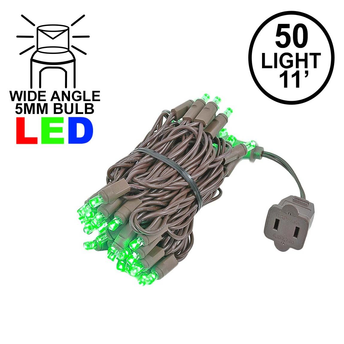 Picture of 50 LED Green LED Christmas Lights 11' Long on Brown Wire