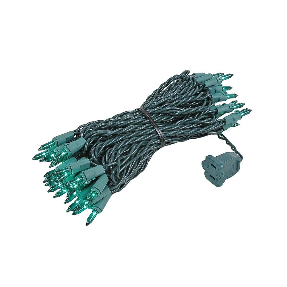 Picture of Green 50 Light 25' Long Green Wire Christmas Mini Lights