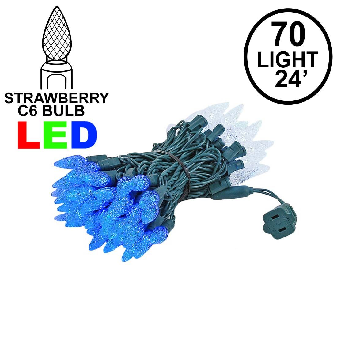 Picture of Blue and White 70 LED C6 Strawberry Mini Lights Commercial Grade Green Wire