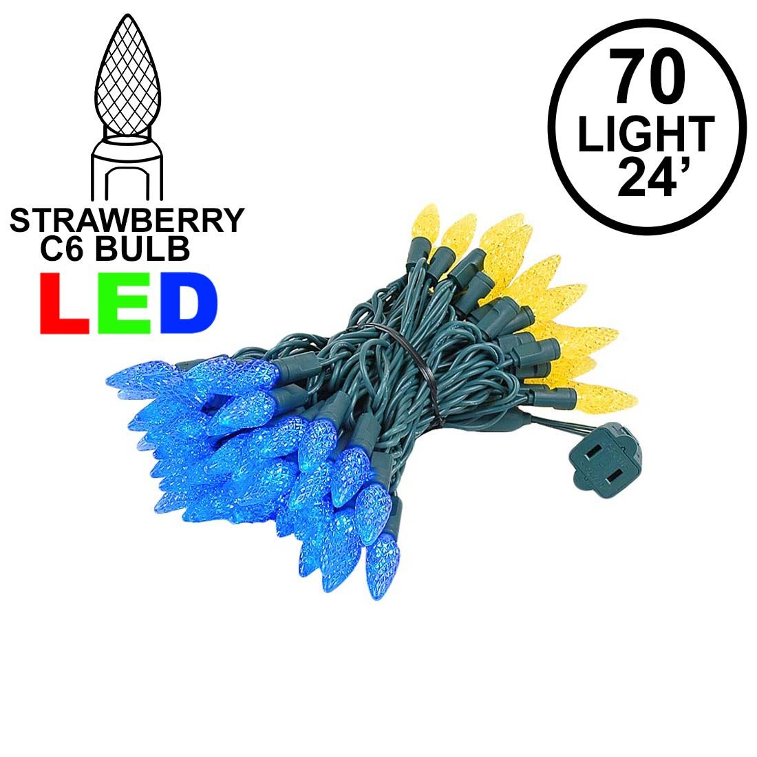 Picture of Yellow and Blue 70 LED C6 Strawberry Mini Lights Commercial Grade Green Wire