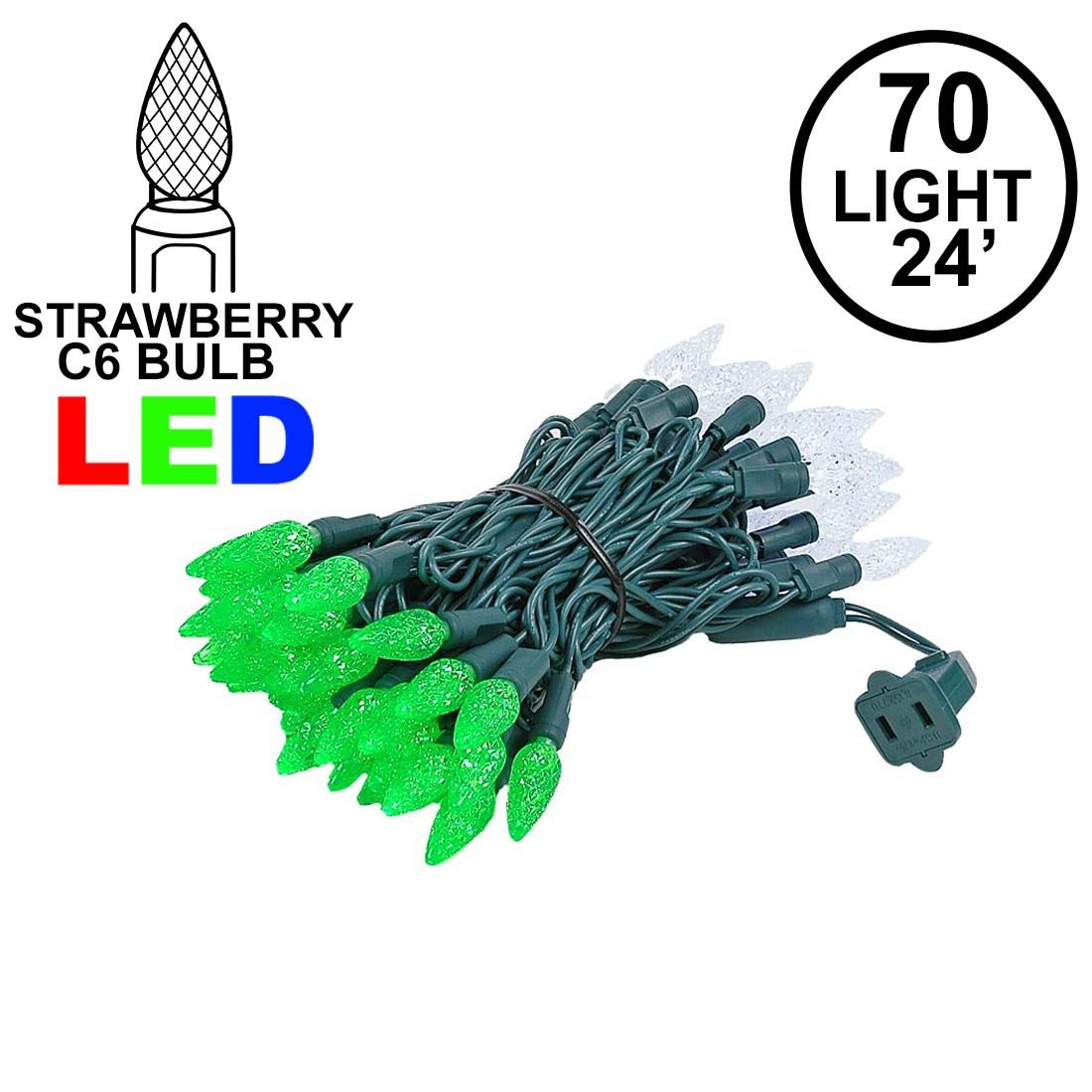 Picture of Green and White 70 LED C6 Strawberry Mini Lights Commercial Grade Green Wire