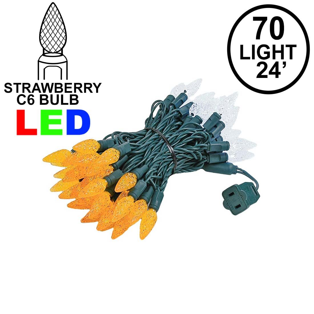 Picture of Orange and White 70 LED C6 Strawberry Mini Lights Commercial Grade Green Wire