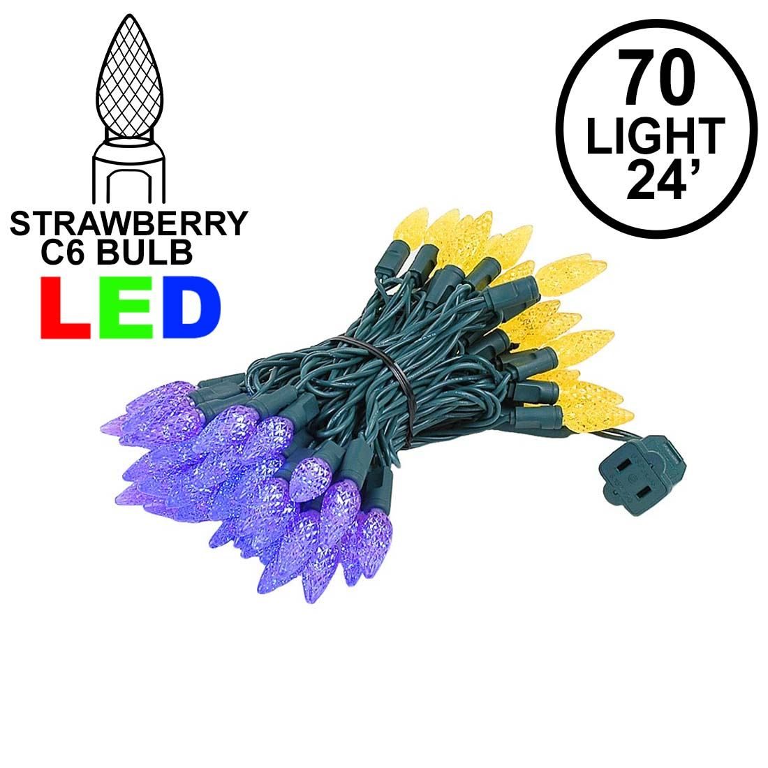 Picture of Yellow and Purple 70 LED C6 Strawberry Mini Lights Commercial Grade Green Wire