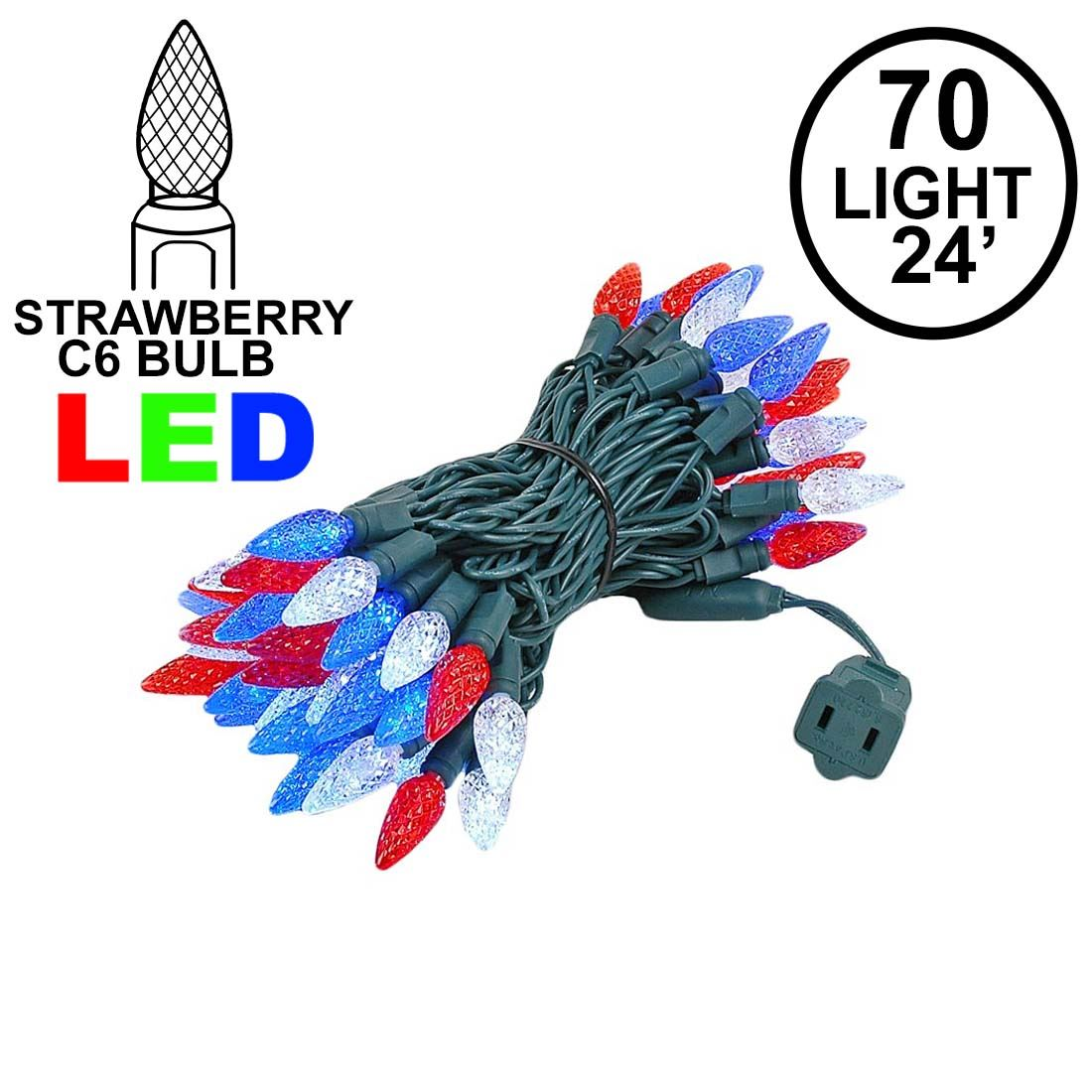 Picture of Red White & Blue 70 LED C6 Strawberry Mini Lights Commercial Grade