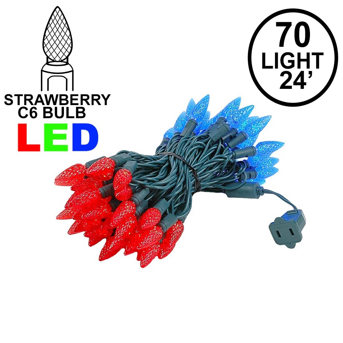 Picture of Red and Blue 70 LED C6 Strawberry Mini Lights Commercial Grade