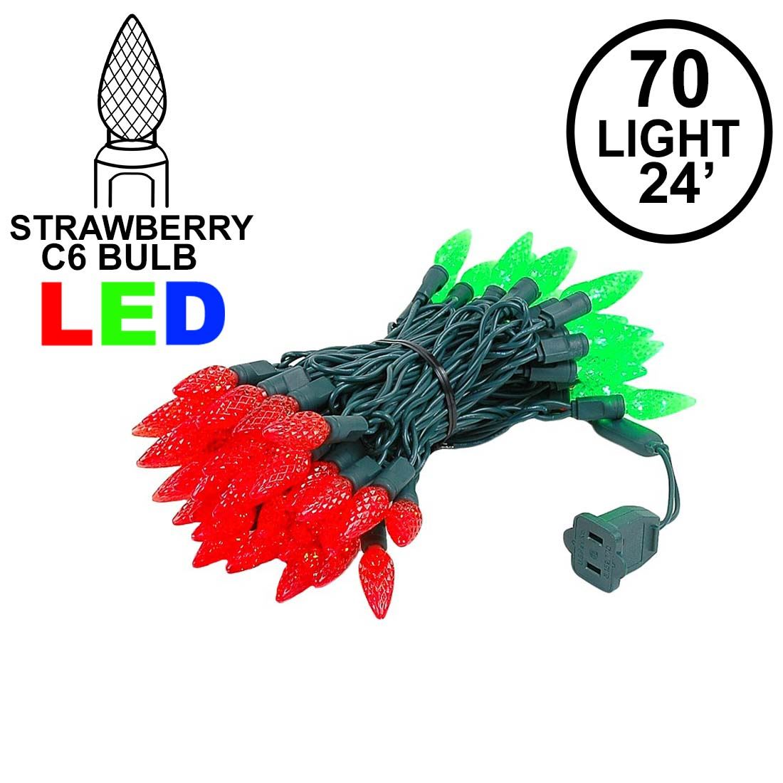 Picture of Red and Green 70 LED C6 Strawberry Mini Lights Commercial Grade Green Wire