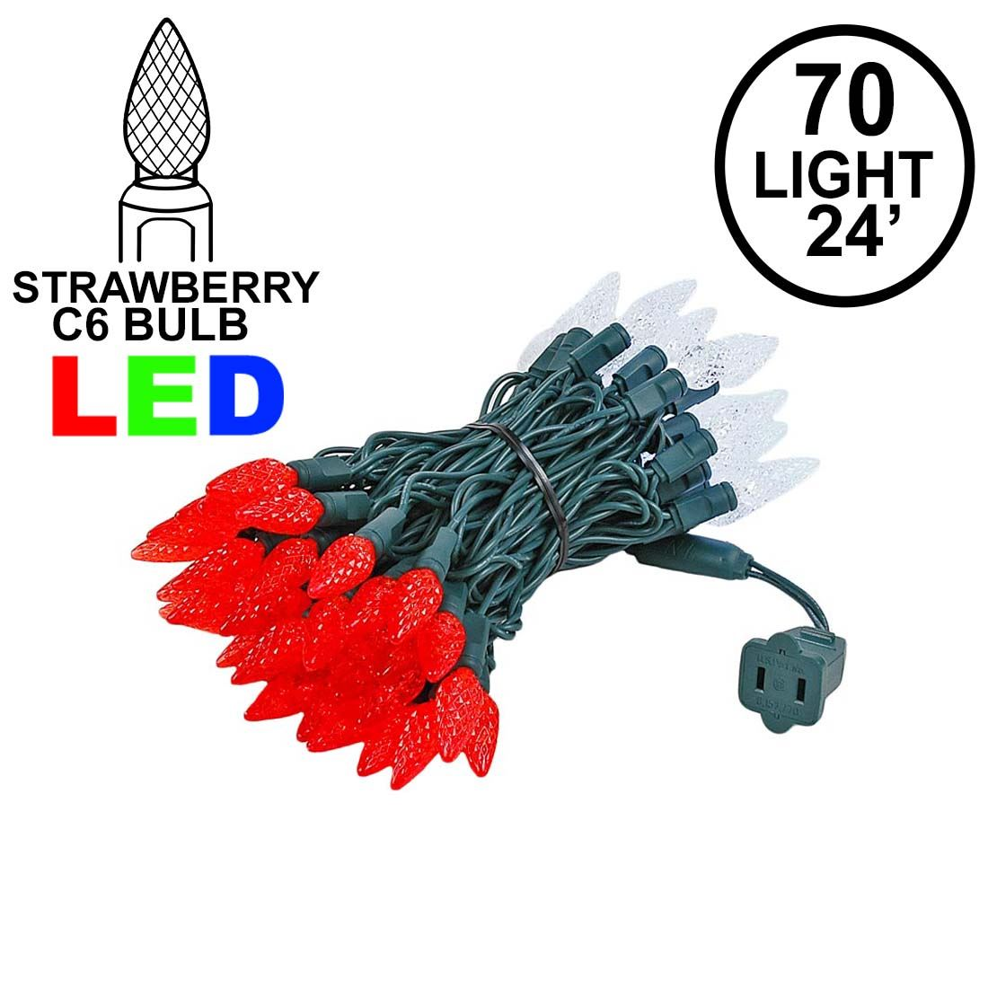 Picture of Red and White 70 LED C6 Strawberry Mini Lights Commercial Grade Green Wire