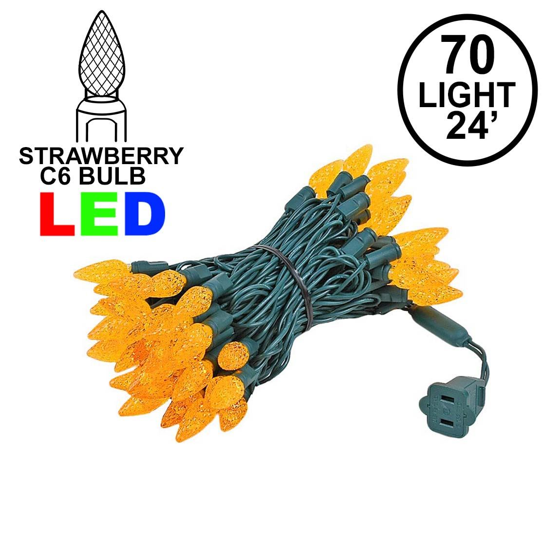 Picture of Amber 70 LED C6 Strawberry Mini Lights Commercial Grade on Green Wire
