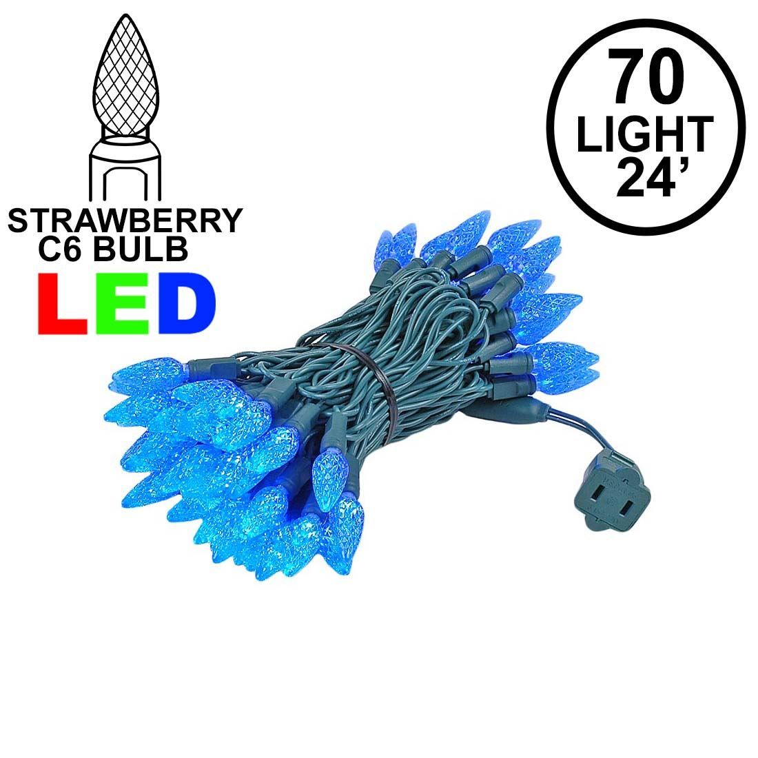 Picture of Blue 70 LED C6 Strawberry Mini Lights Commercial Grade on Green Wire