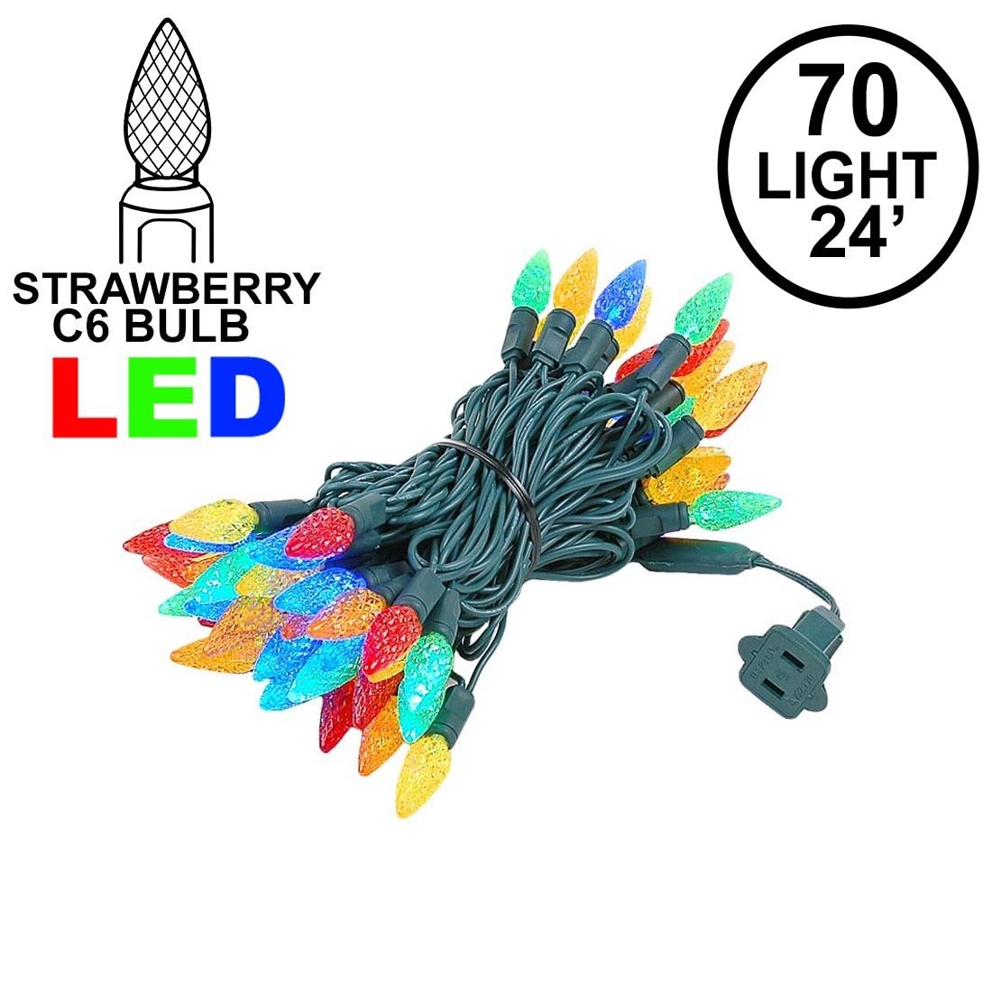 3ab10251759f Picture of Multi 70 LED C6 Strawberry Mini Lights Commercial Grade on Green  Wire