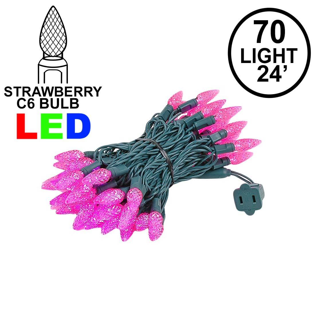 Picture of Pink 70 LED C6 Strawberry Mini Lights Commercial Grade on Green Wire