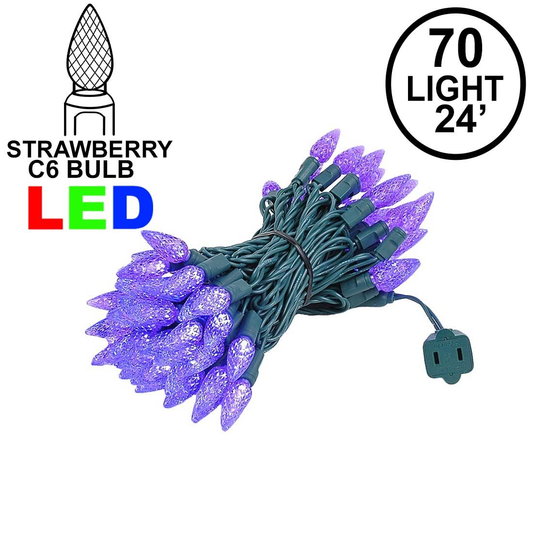 Picture of Purple 70 LED C6 Strawberry Mini Lights Commercial Grade