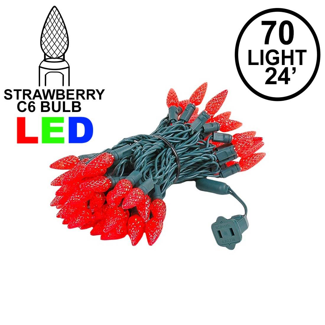 Picture of Red 70 LED C6 Strawberry Mini Lights Commercial Grade